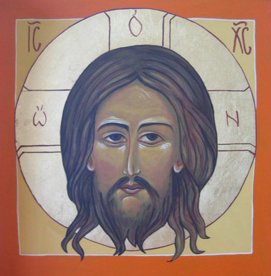 """Brenda L. Spurlock Landstedt  """"Icon of The Holy Face, Image Made without Hands"""" 11"""" x 11"""" $400.00  Handmade cabinet-grade 3⁄4 inch birch board with 15 coats of white acrylic gesso; between each coat sanded to smooth finish. Painted with multiple layers of thin acrylic paint. 23 karat gold leaf. Varnished with Lascaux matt acrylic transparent UV filter. I chose to submit this image for your art show because as Jesus said, """"I Am the Way.""""  Faith, hope, and charity is what will unite all people, but only until we recognize that the love of our Saviour is full of mercy, peace, beauty, love and thus hope. Understanding this will allow us to extend love and mercy to our brothers and sisters and unity will overcome divisiveness and hate.  ARTIST STATEMENT I have been painting for about 16 years. I always wanted to when I was young but did not get a chance. I taught myself to paint oils, pastels, acrylic, and have done all themes, landscapes, portraits, still-life. I became interested in learning to paint icons because my faith became increasingly important in my life. I wanted to share visibly the beauty and love freely given to me by our Lord. I have spent the last twenty-five years raising four wonderful children, ranging in ages from 13 to 25. My Catholic faith provided me with wisdom and patience to do this and I am grateful. I believe that beauty mirrors God's love and it has been important to me to emphasize this to my four children. In general, I believe that beauty can draw people to God and to a good life. Contact: brendalorraine@comcast.net"""