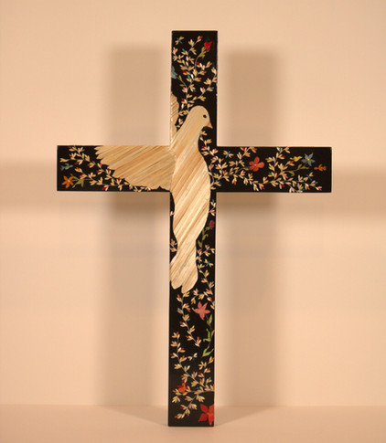 "Lenise Lujan-Martinez ""Espiritu Santo"" 16.5"" x 11.25"" x 0.25"" cross, pine, black paint, natural & dyed wheat straw, wood glue, spray finish  Holy Spirit with wings wrapped around the cross placed on ""The Tree of Life.""  I was inspired to create this piece from the great works and my love of the Holy Spirit. The Tree of Life is a popular & universal symbol that represents many different things across various  cultures & religions. It symbolizes togetherness and serves as a reminder that we are never alone or isolated, we are connected to the world.   ARTIST STATEMENT My birth place and home is Santa Fe, NM. I have been married for 31 years to my husband, David Martinez. We have two beautiful, adult children, Alexandria, age 28, and Isaiah, age 23. My mother, Diane Moya-Lujan, whom is also a Straw Appliqué Artist, taught me this beautiful art form. I juried into the Spanish Market in 2000.  My upbringing & privilege of being born in Santa Fe taught me a wonderful understanding of my Hispanic culture and traditions. The art of Straw Appliqué has become my passion."