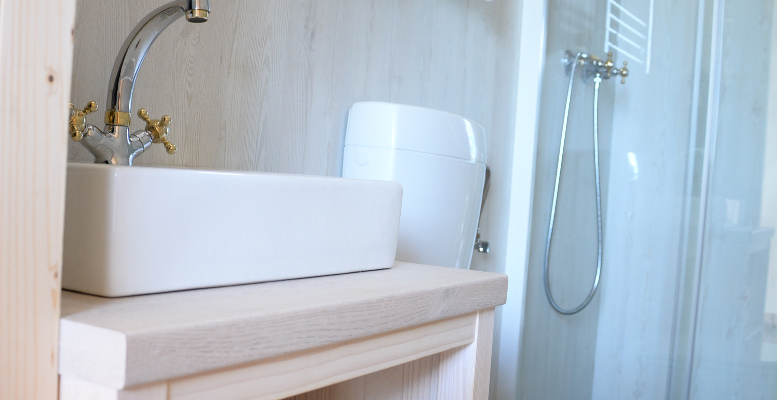 Bathroom in glamping tent