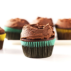 Vegan chocolate cupcakes with chocolate icing