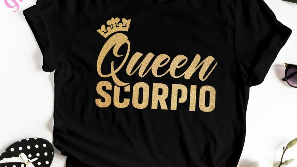 QUEEN SCORPIO GOLD GLITTER T-SHIRT