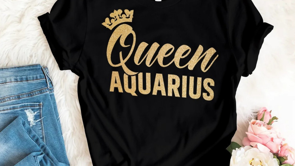 QUEEN AQUARIUS GOLD GLITTER T-SHIRT