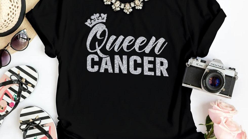QUEEN CANCER SILVER GLITTER T-SHIRT