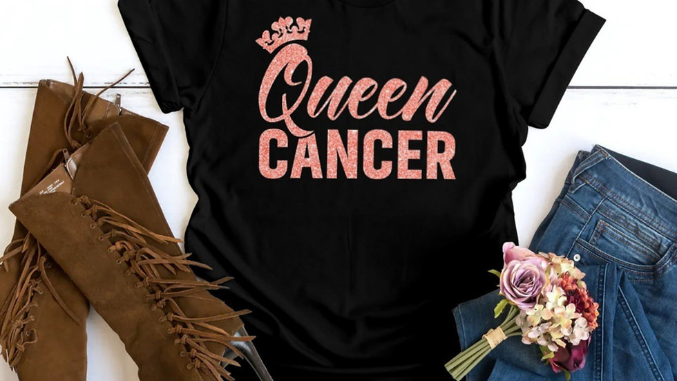 QUEEN CANCER CORAL PINK GLITTER T-SHIRT