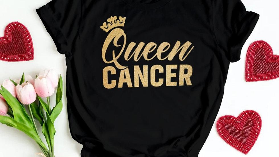 QUEEN CANCER GOLD GLITTER T-SHIRT