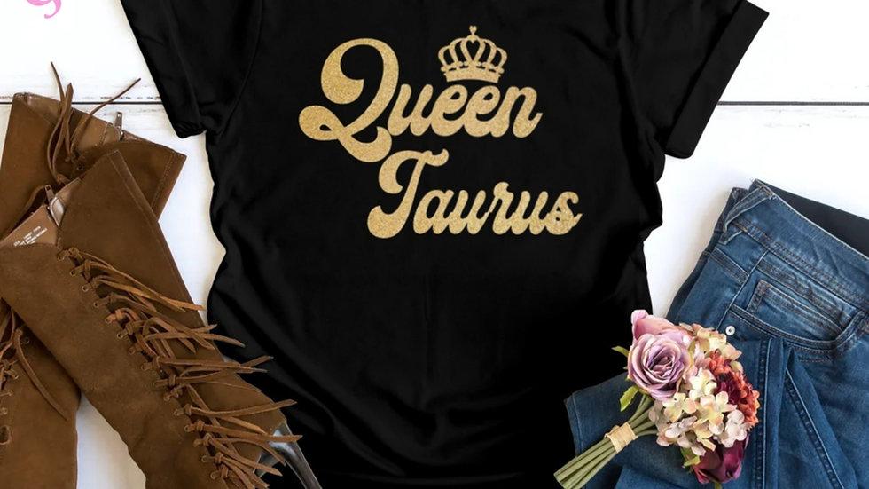 QUEEN TAURUS GOLD GLITTER T-SHIRT