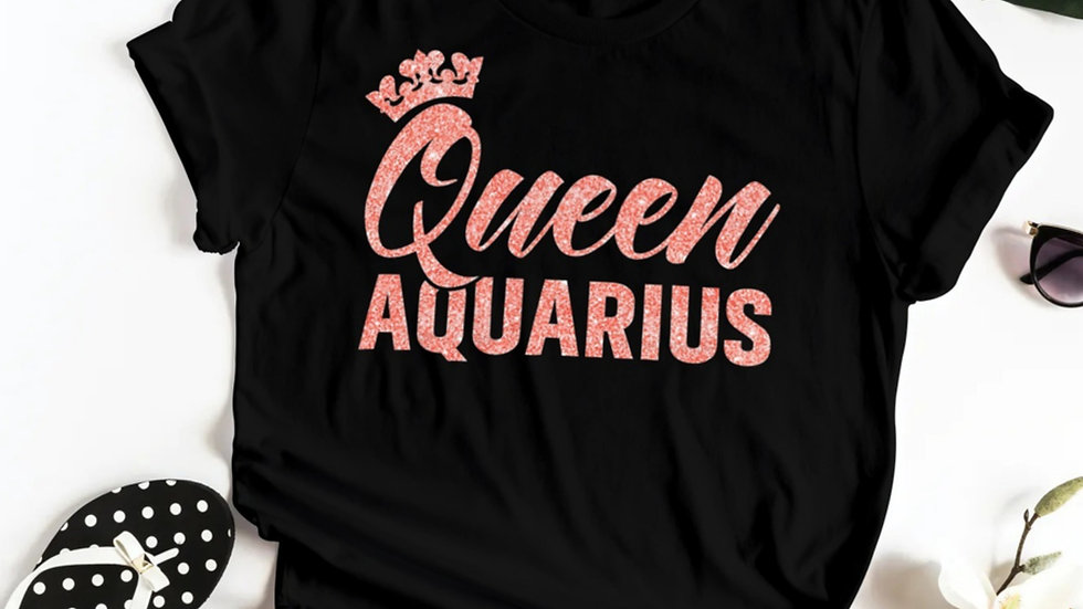 QUEEN AQUARIUS CORAL PINK GLITTER T-SHIRT