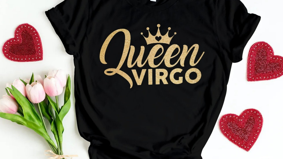QUEEN VIRGO GOLD GLITTER T-SHIRT