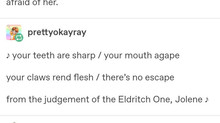 Eldritch Jolene; or, On This Day One Year Ago