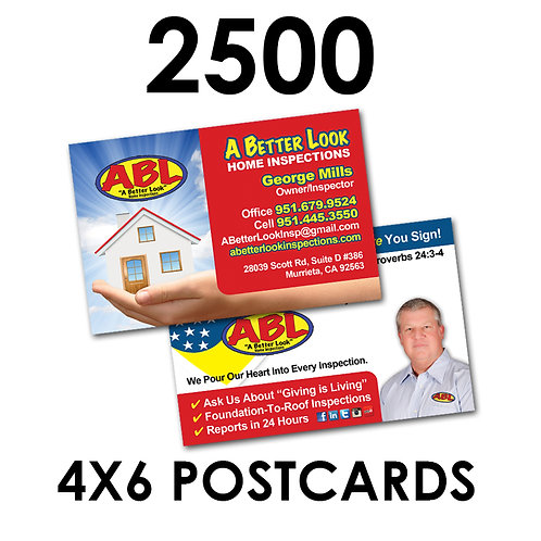 "2500 2-Sided 4x6"" Postcards"