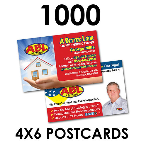 "1000 2-Sided 4x6"" Postcards"