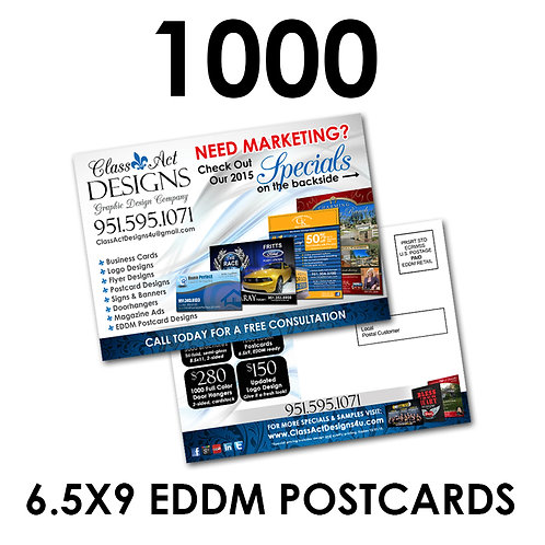 "1000 2-Sided 6.5x9"" EDDM Ready Postcards"