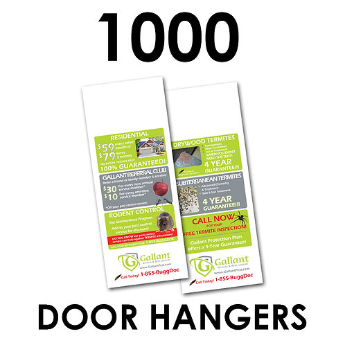 "1000 2-Sided 4.25x11"" Doorhangers"