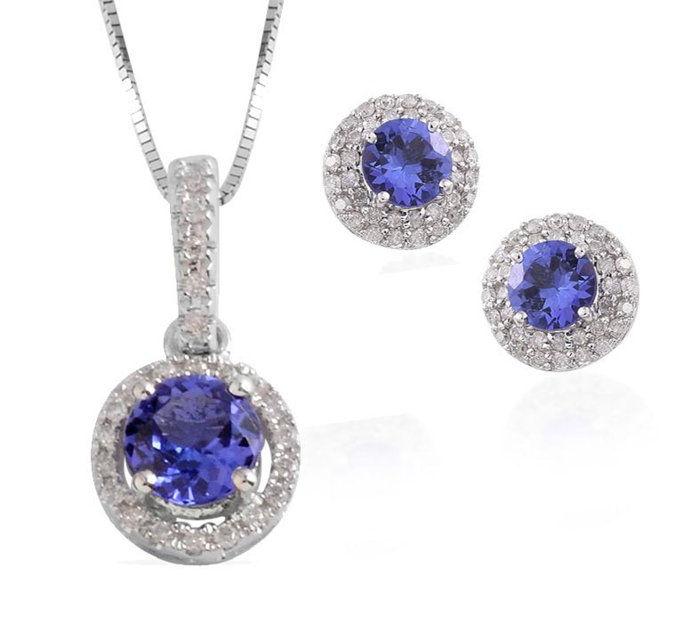 Tanzanite and Diamond Pendant Necklace and Tanzanite and Diamond Stud Earrings in 14K White Gold