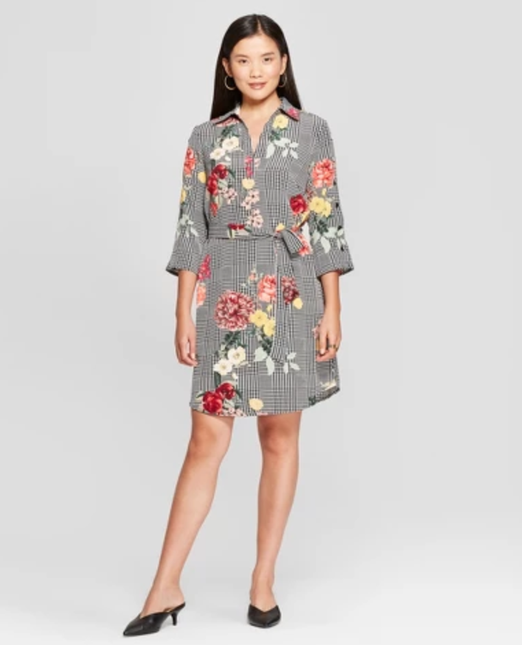 plaid and floral shirtdress