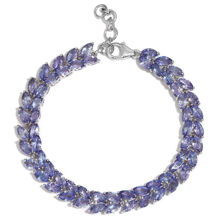 16.8 Carat Tanzanite Bracelet in Platinum Overlay Sterling Silver