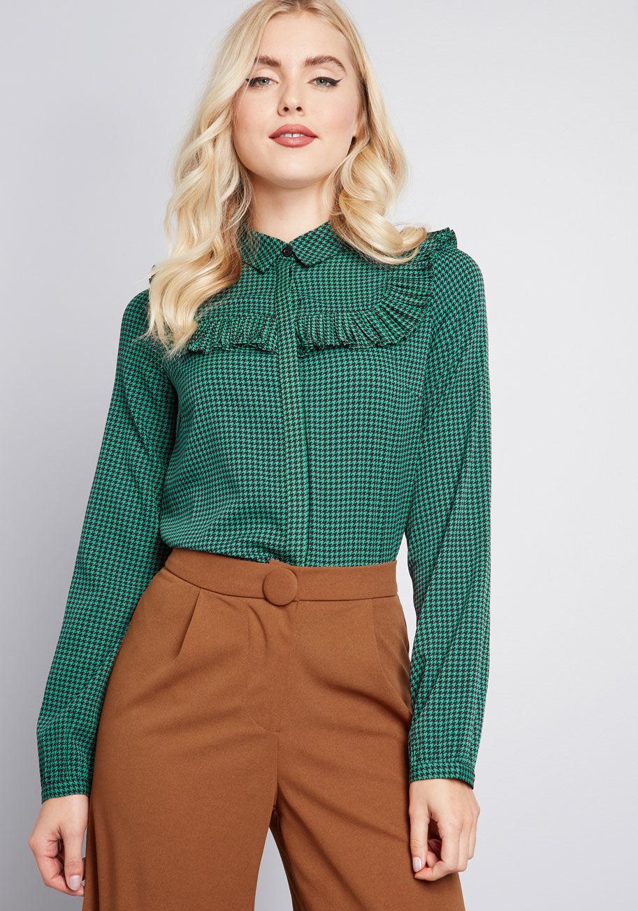 Green houndstooth shirt