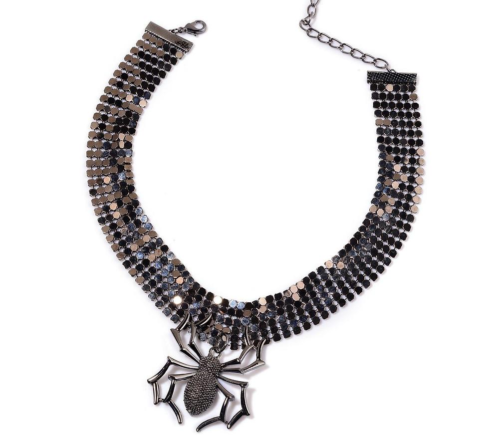 Spider Necklace (16-19 in) in Dark Silvertone