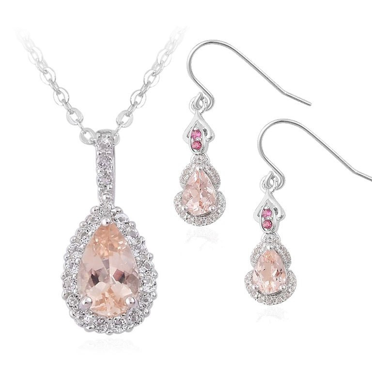 Morganite and White Topaz Pendant Necklace and Morganite, Garnet and White Topaz Jewelry Set
