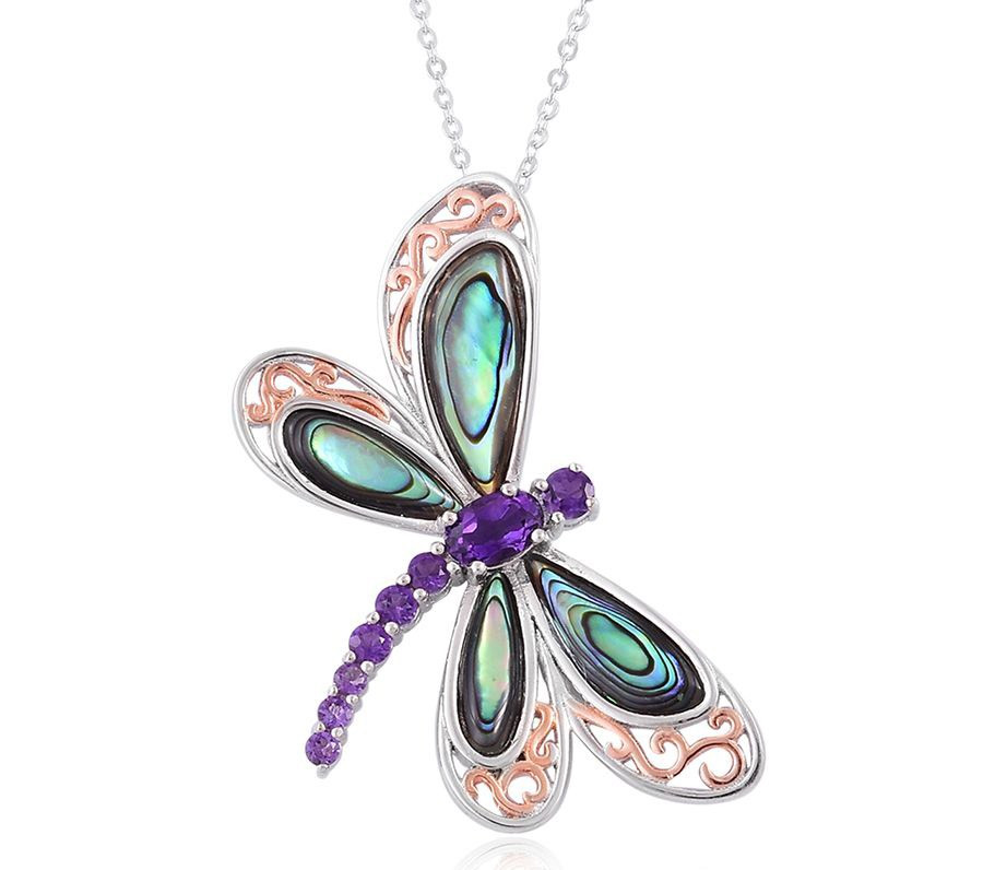 Creature Couture – Abalone Shell, Amethyst 14K RG Over and Sterling Silver Dragonfly Pendant With Chain
