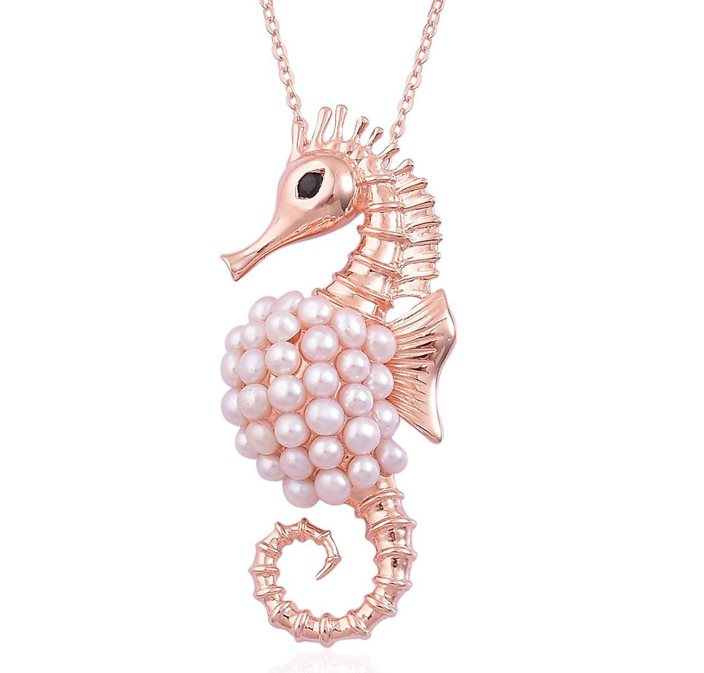 Pearl Expressions Freshwater Pearl, Thai Black Spinel 14K RG Over Sterling Silver Seahorse Pendant With Chain
