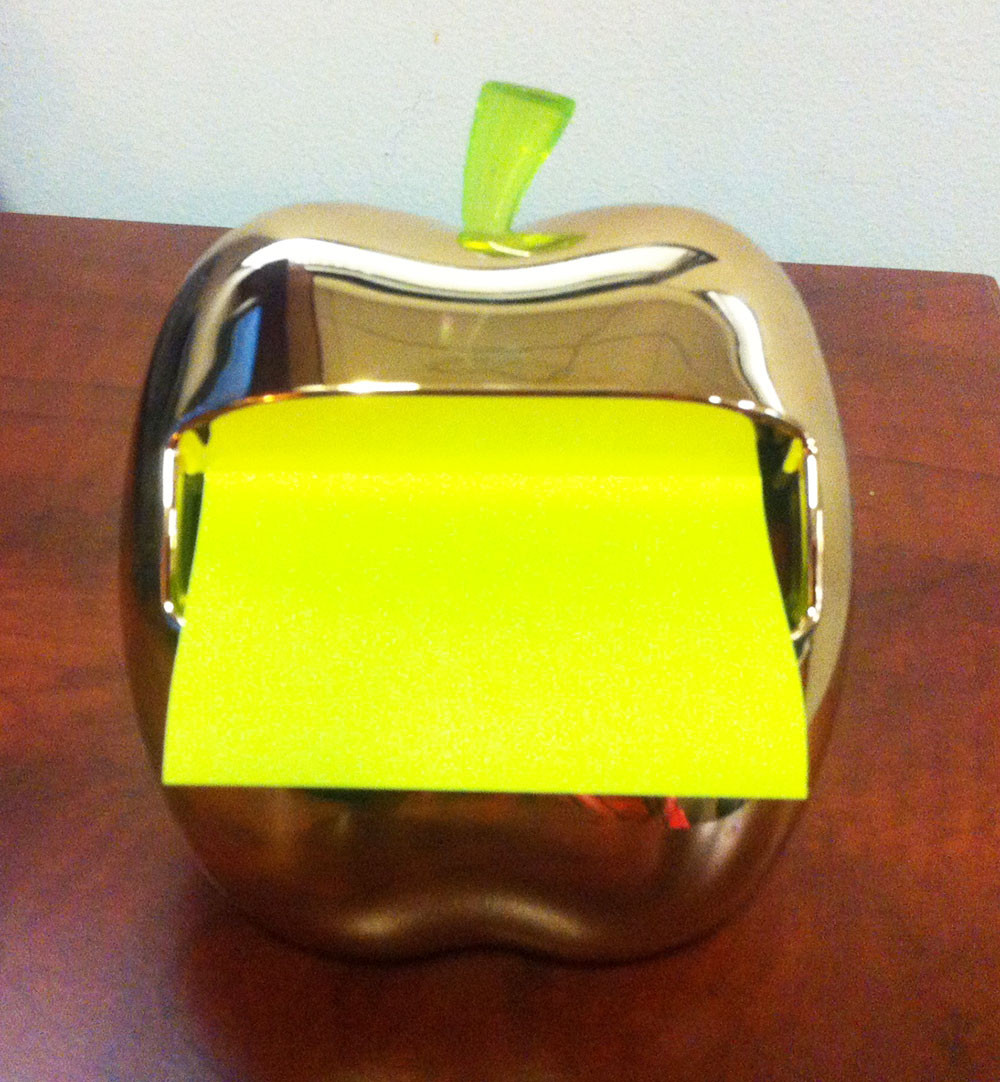 golden apple post-it dispenser