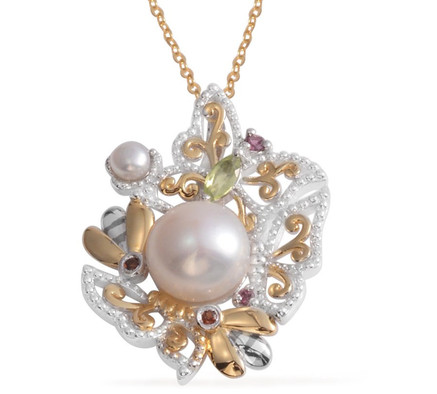 Pearl Expressions Freshwater Pearl, Multi Gemstone 14K YG Over Sterling Silver Pendant With Chain
