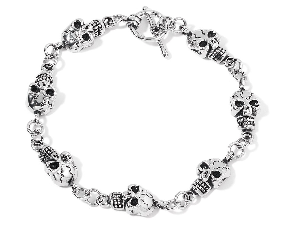ION Plated Black and Stainless Steel Skull Bracelet