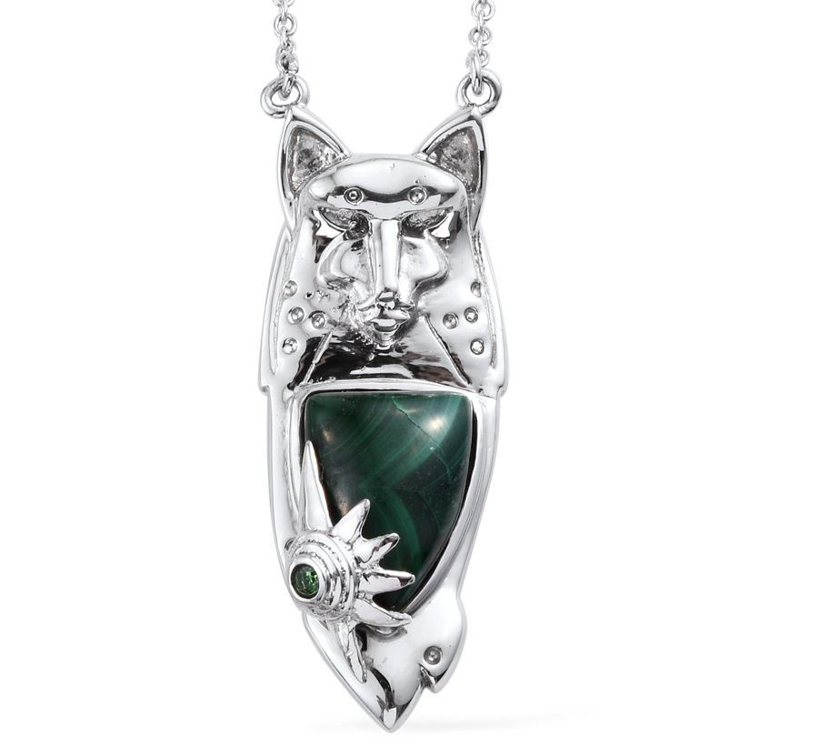 African Malachite, Simulated Green Diamond Stainless Steel Wolf Necklace