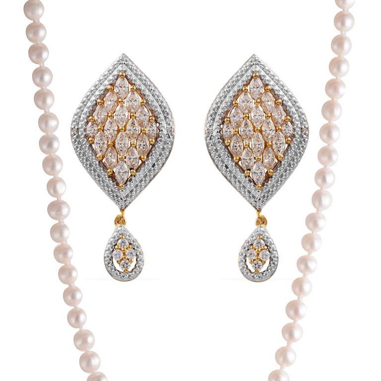 J Francis Swarovski Crystal Earrings and Freshwater Pearl Necklace.
