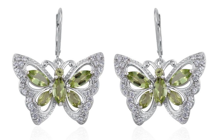 Creature Couture – Hebei Peridot, White Topaz Platinum Over Sterling Silver Butterfly Earrings