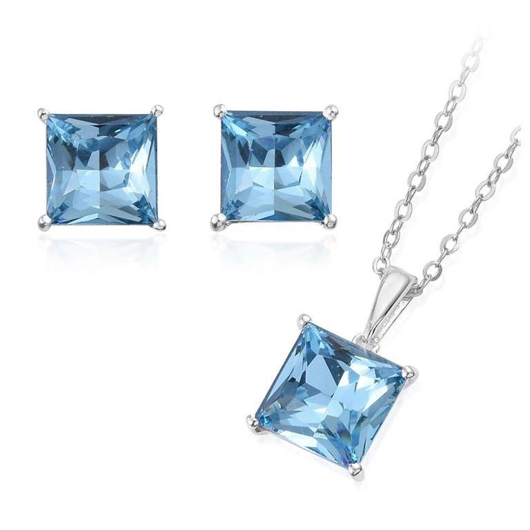 Blue Topaz and Pendant Necklace Set