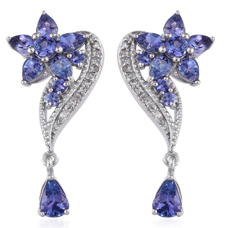 Tanzanite and White Topaz Earrings in Platinum Overlay Sterling Silver