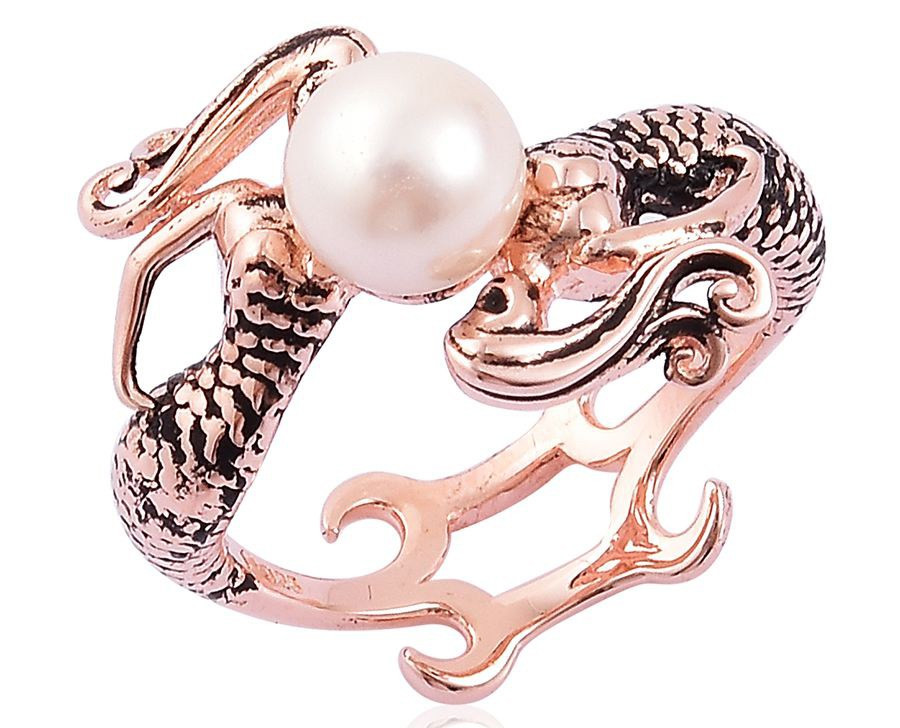 Pearl Expressions Japanese Akoya Pearl 14K RG Over Sterling Silver Bypass Mermaid Ring