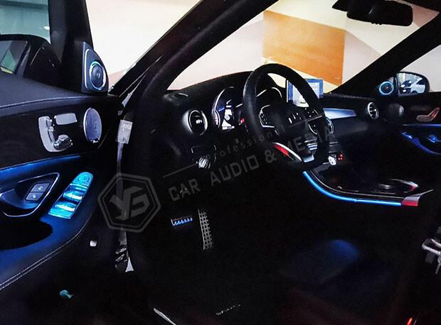 賓士C300(W205)氣氛燈-藍色