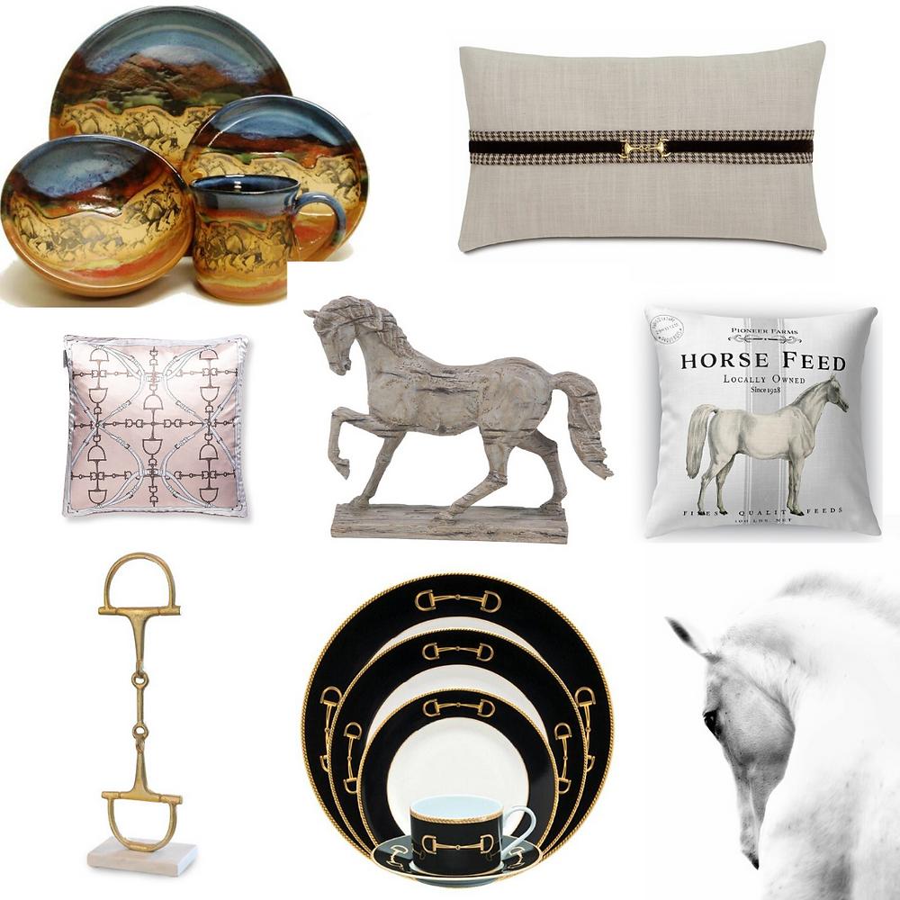 Equestrian Home Decor Horses Pillows Dinnerware Art