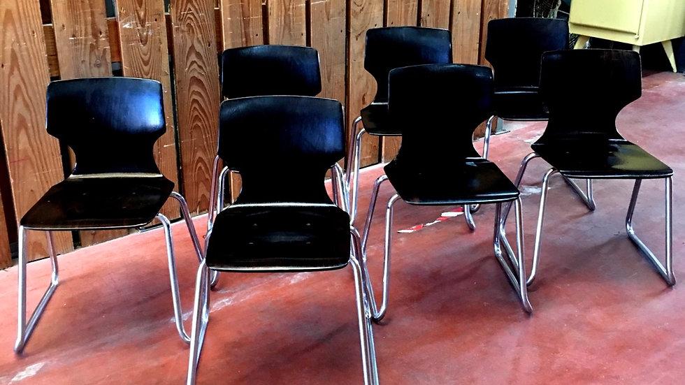 6 chaises bois et chrome