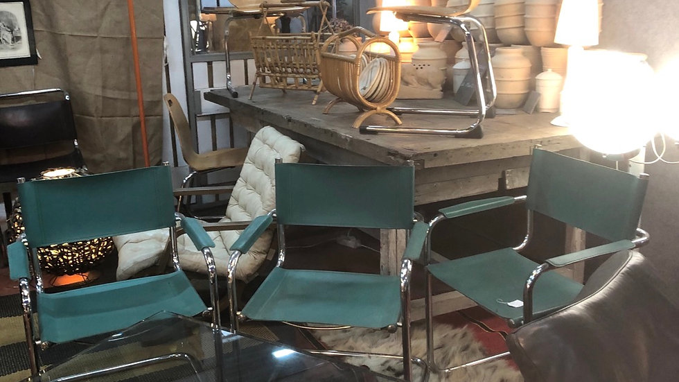 3 fauteuils cuir