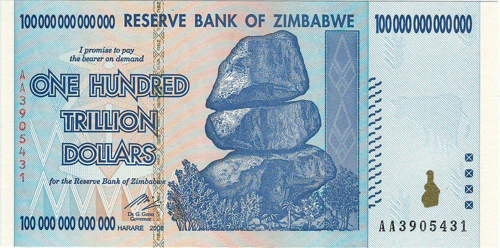 Hyperinflationary Zimbabwean banknote