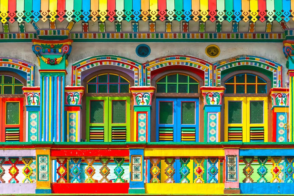 Colorful facade of a building in Little India, Singapore.