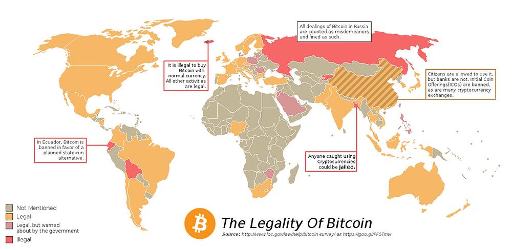 Crypto legal status across the world