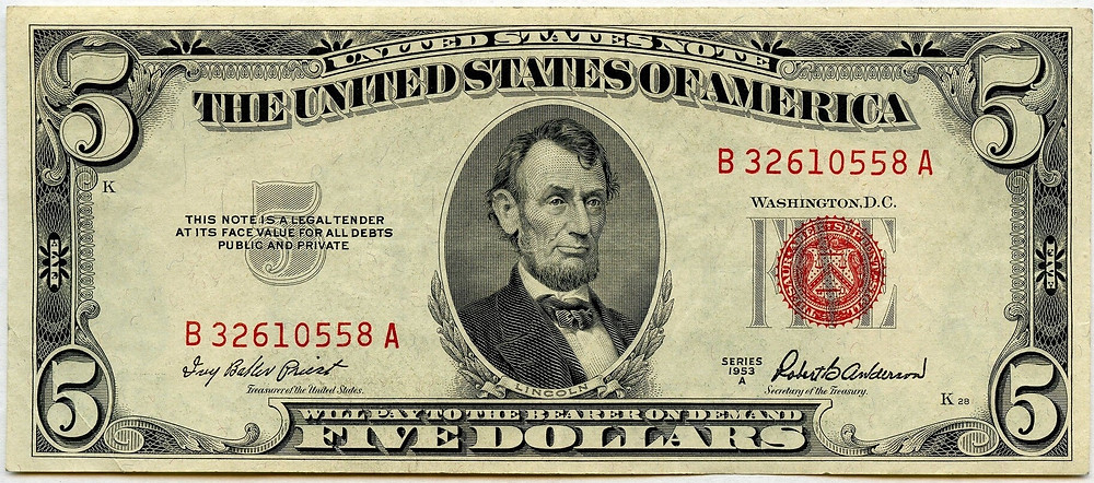 US $5 banknote with the Legal Tender mark