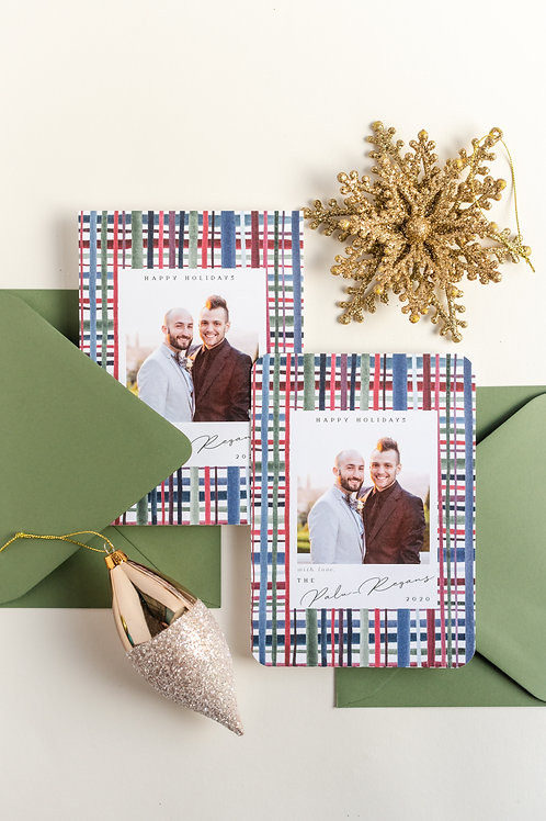Cozy Plaid Holiday Photo Greeting Cards