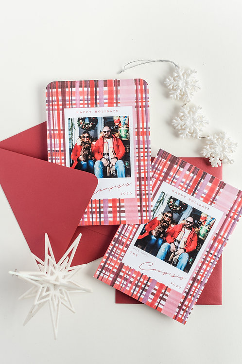 Cranberry Plaid Holiday Photo Greeting Cards
