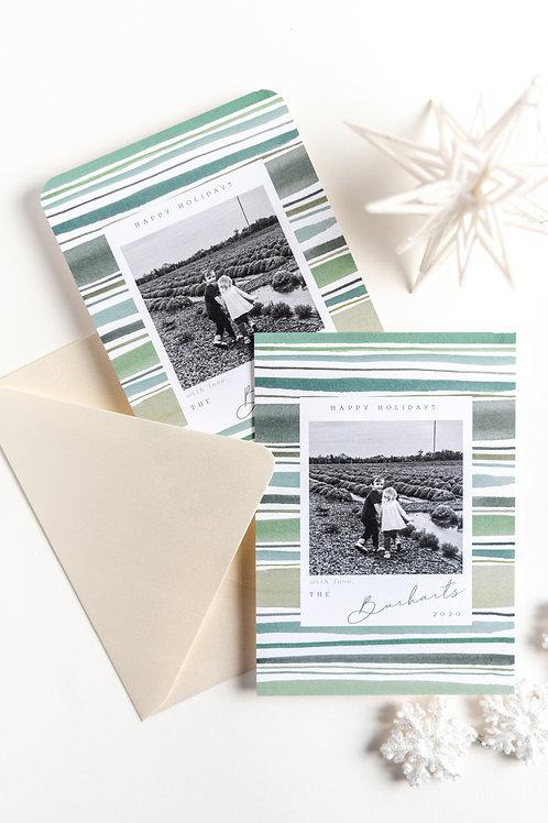 Hunter Stripe Holiday Photo Greeting Cards