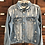 Thumbnail: Large Custom Light Wash Distressed Denim Jacket
