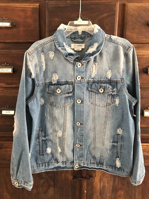 Large Custom Light Wash Distressed Denim Jacket