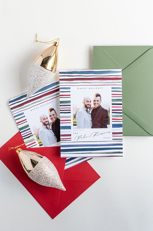 Cozy Stripe Holiday Photo Greeting Cards