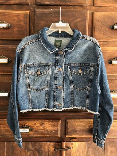 Large Custom Cropped Denim Jacket
