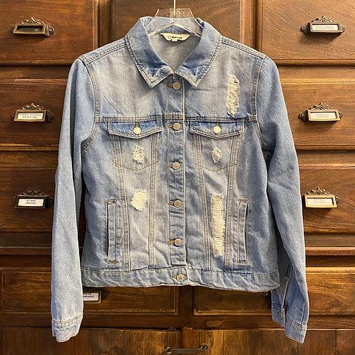 Large Custom Light Wash Distressed Denim Jacket (B)